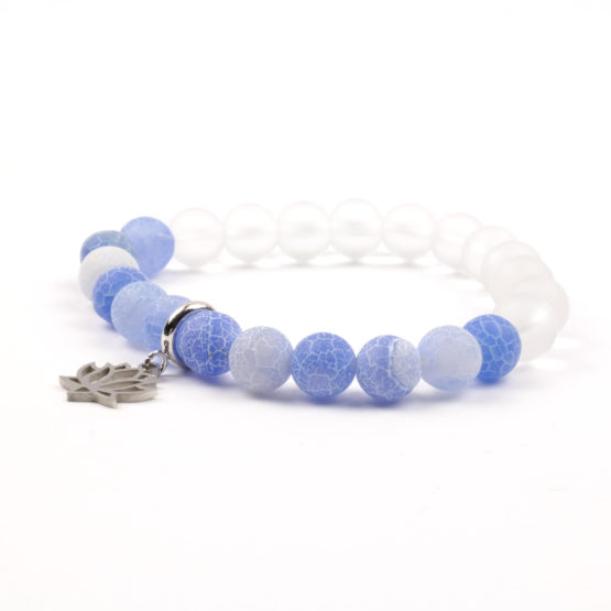 Moni - dámský náramek achát blue křišťál matný