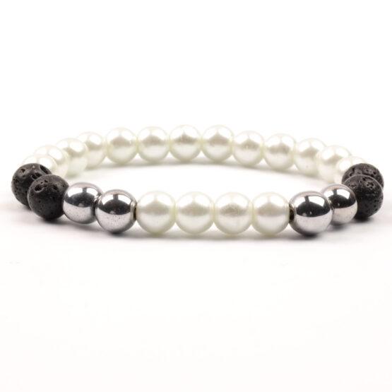 Moni - dámský náramek perly láva hematit