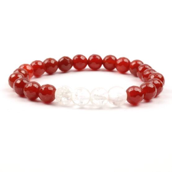 Moni - dámský náramek červený achát křišťál matný