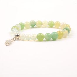 Moni - dámský náramek achát bledě zelený opál andělské křídlo