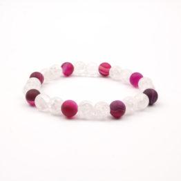 Moni - dámský náramek achát růžový matný křišťál
