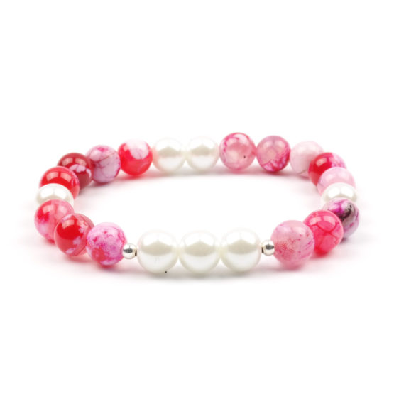 Moni - dámský náramek achát růžový perly
