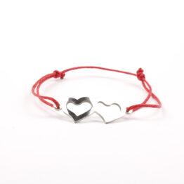 Moni náramek červený spojená srdce